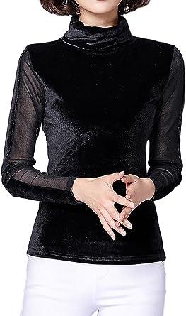 La Mujer Elegante Malla Jersey Cuello Alto Patchwork Terciopelo Sólida Oficina Blusa Camisa Top: Amazon.es: Ropa y accesorios
