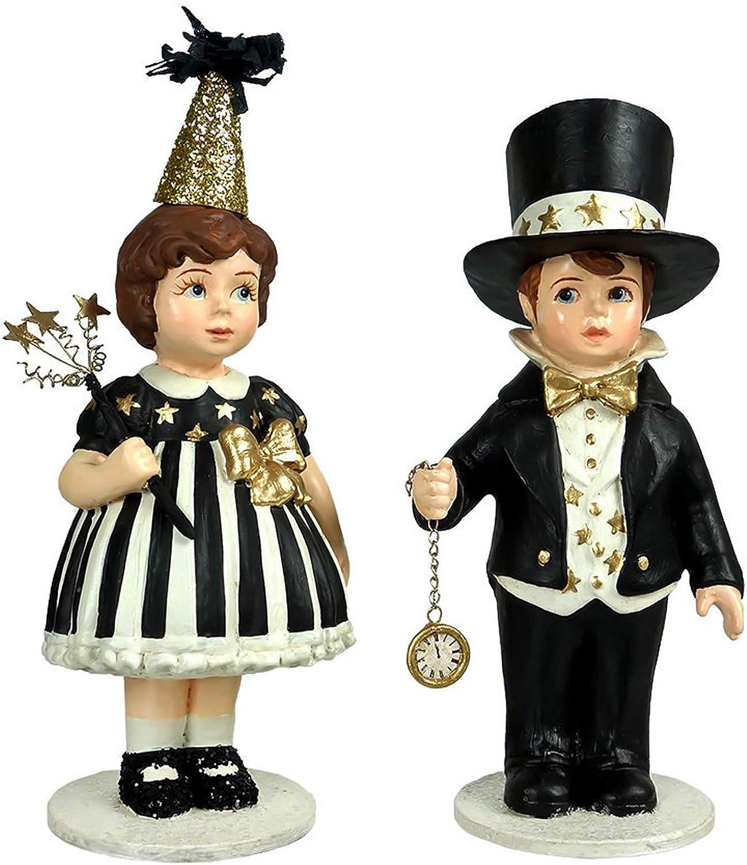 Bethany Lowe Set/2 Up at Midnight Boy Girl New Years Eve Retro Vintage Decor Figurine