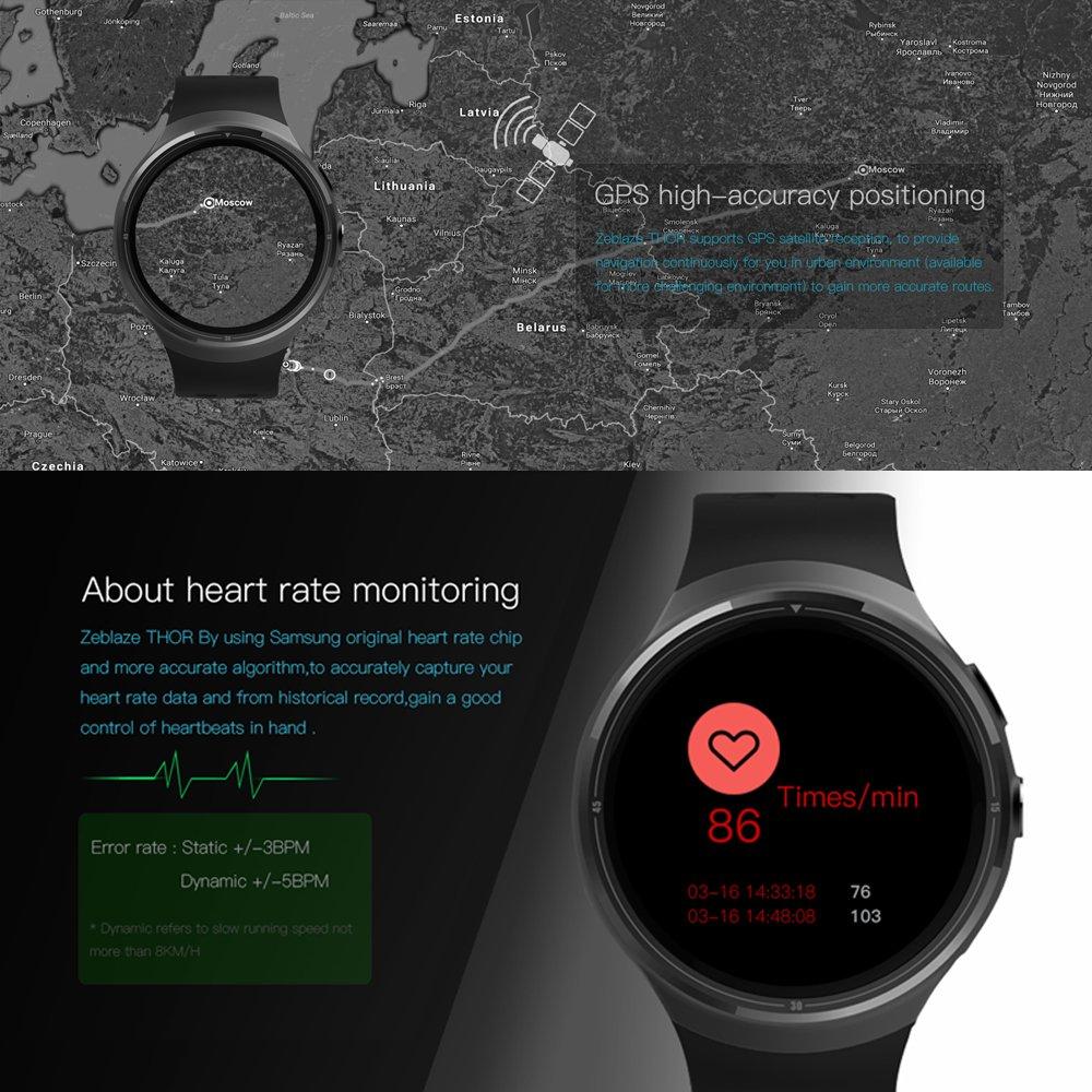 Docooler THOR Smartwatch Phone Android 5.1 1GB RAM + 16GB ROM Pantalla táctil Pedómetro Notificación de Llamada Cámara 2MP Alarma Marco de metal WiFi