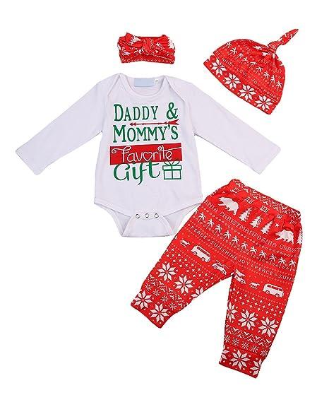 270973a45 Amazon.com: ThreeC Baby Boys Girls Christmas 4Pcs Outfit Set Daddy ...