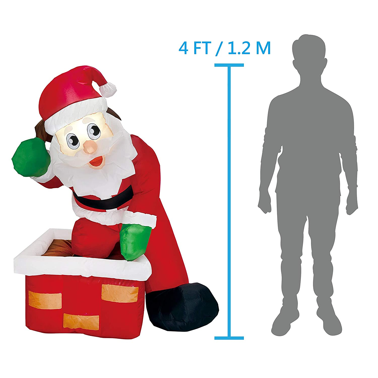 Amazon.com: Joiedomi 4 Foot Inflatable Santa Claus LED Light Up ...