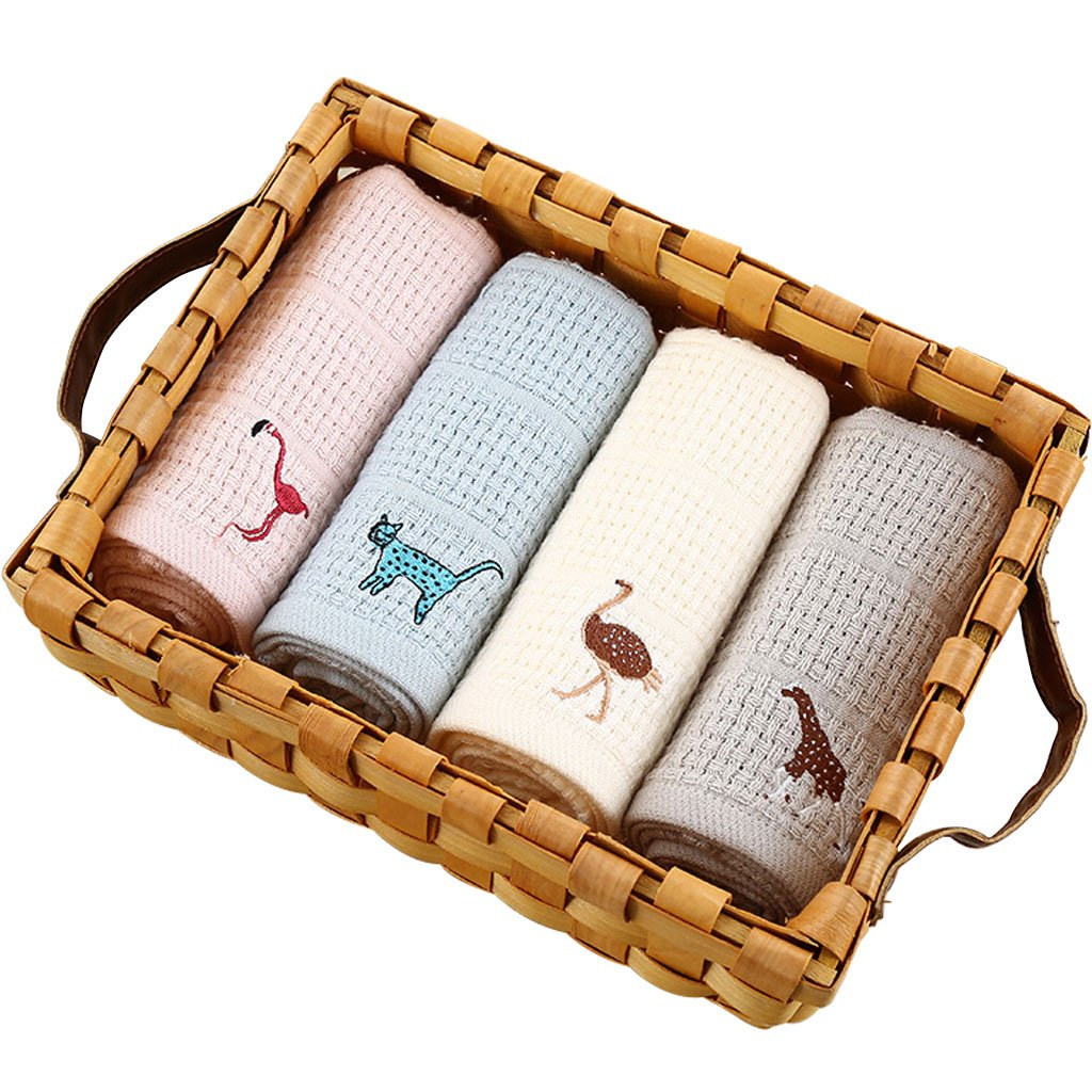 Towels Cotton Face Towels, Multipurpose Maximum Softness Fingertip Towels For Bathroom, Fast Dry and Highly Absorbent Washcloths, Machine Washable Towels for Hand, Face, Gym and Spa, Pack Of 4 Animals