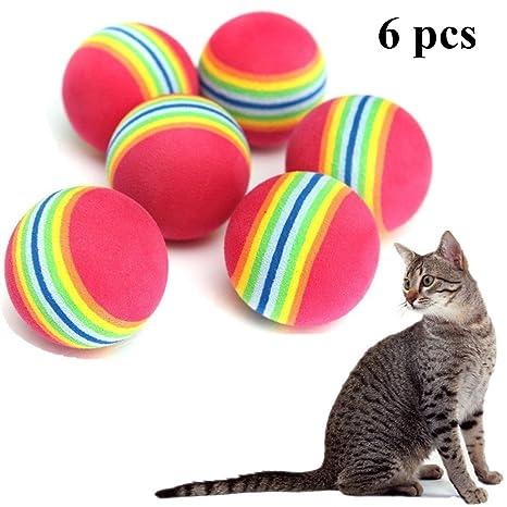 cosanter parte pelotas para gatos/arco iris Ball, redondos, 6 unidades)/