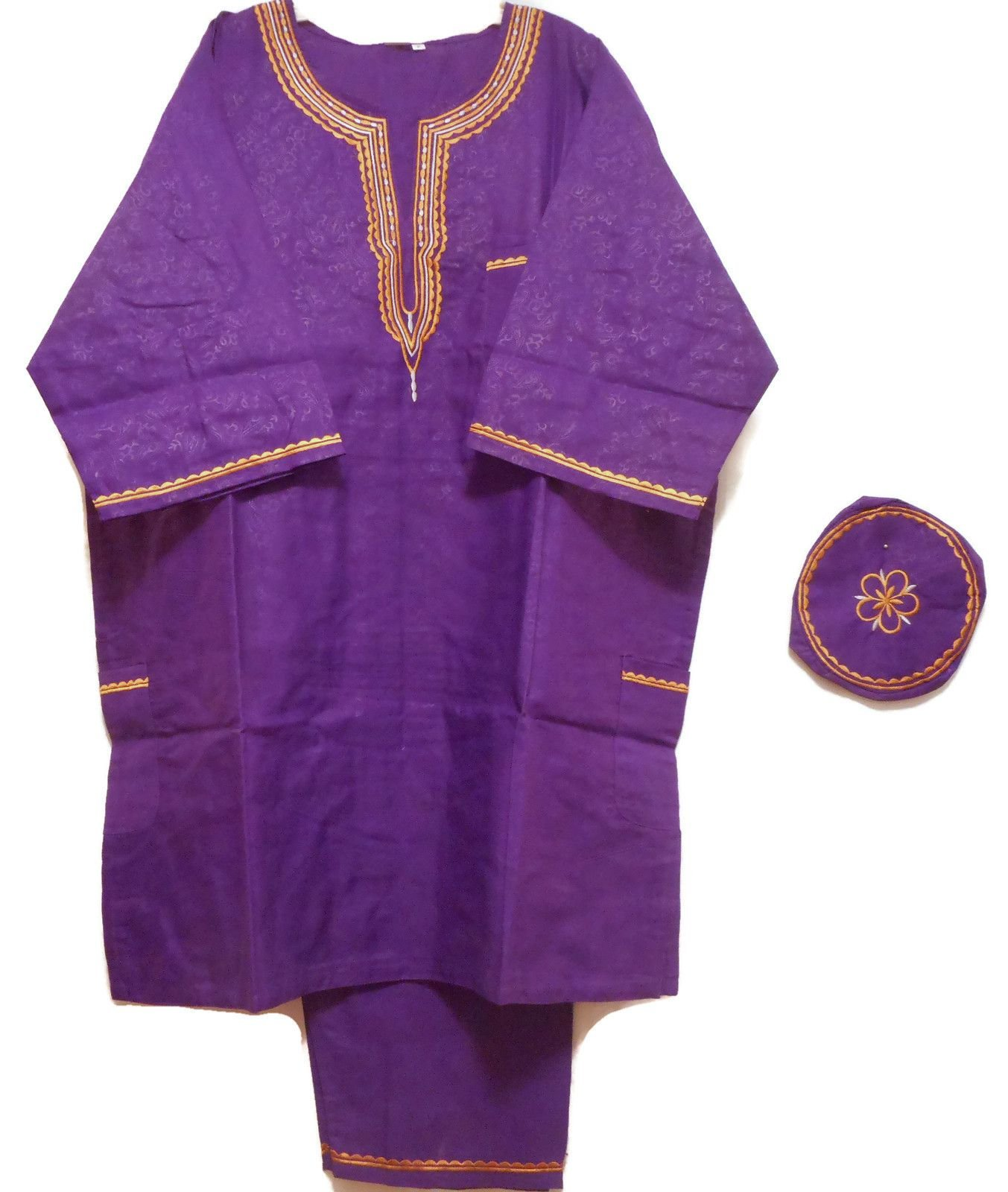 DecoraApparel African Traditional Men Suit Ethnic Clothing Brocade Pant Set Plus Size (Purple Gold)