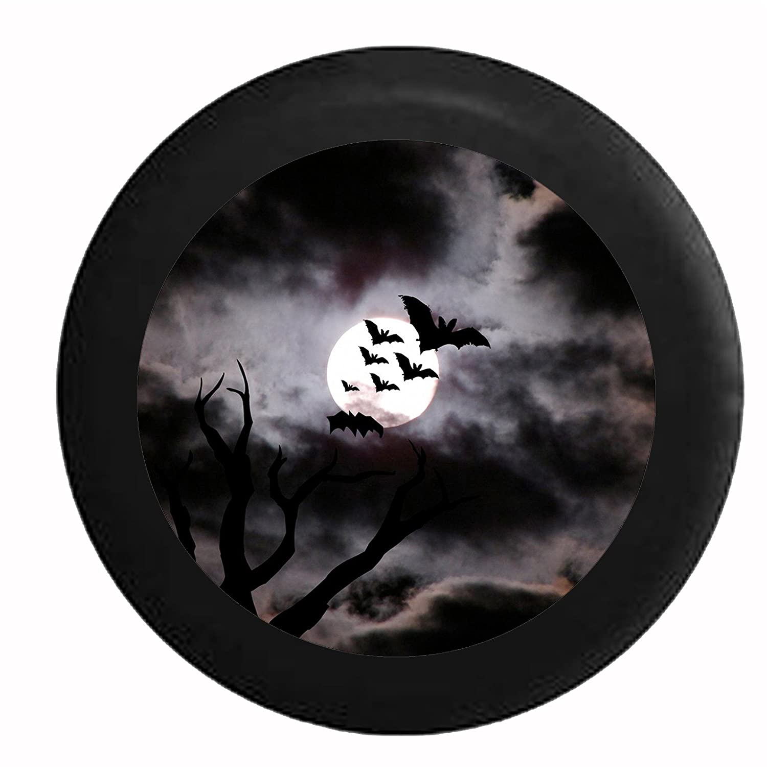 Full Color Bats Flying in the Night Sky in the Full Moon Jeep RV Camper Spare Tire Cover Black 26-27.5 in Pike Outdoors