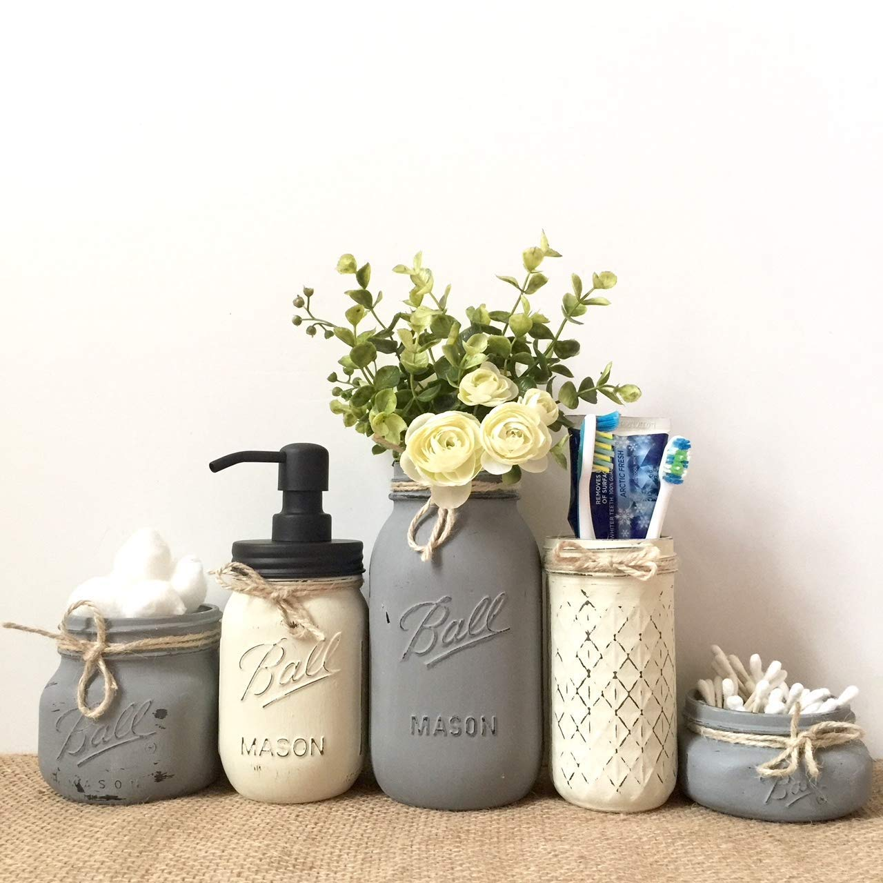 Mason Jar Bathroom Organization Set, 5 Piece Set, Your Choice of Colors, Silk Flowers Optional