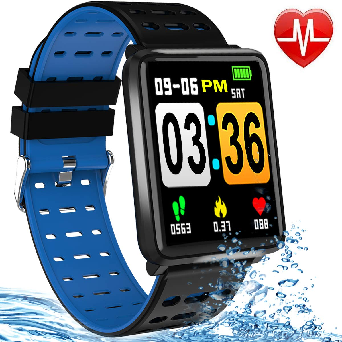 Fitness Tracker Heart Rate Smart Watch Blood Pressure/Oxygen Monitor IP67 Waterproof Health Activity Tracker Watches for Man Women 1.44 Inch Color Screen PM/AM Format Smart Bracelet Pedometer