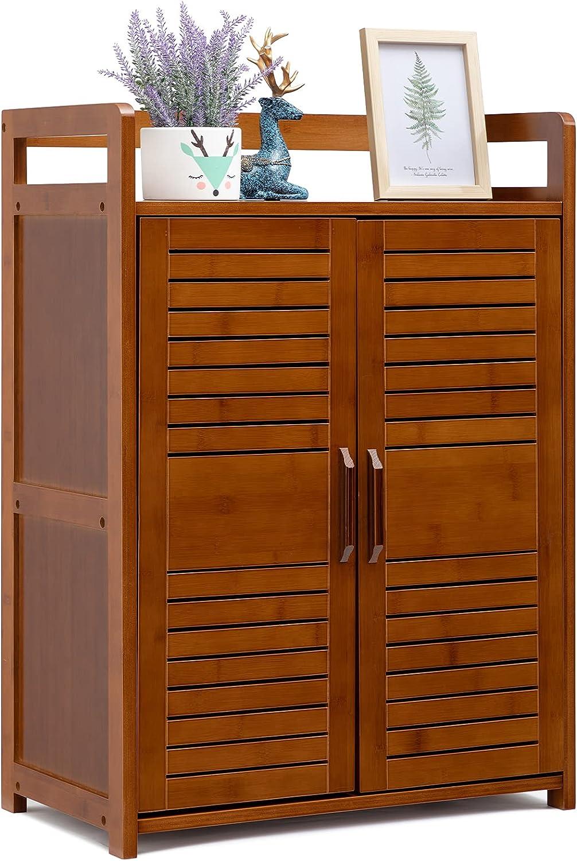 AbocoFur Bamboo Floor Storage Cabinet with 2 Doors, 23.43