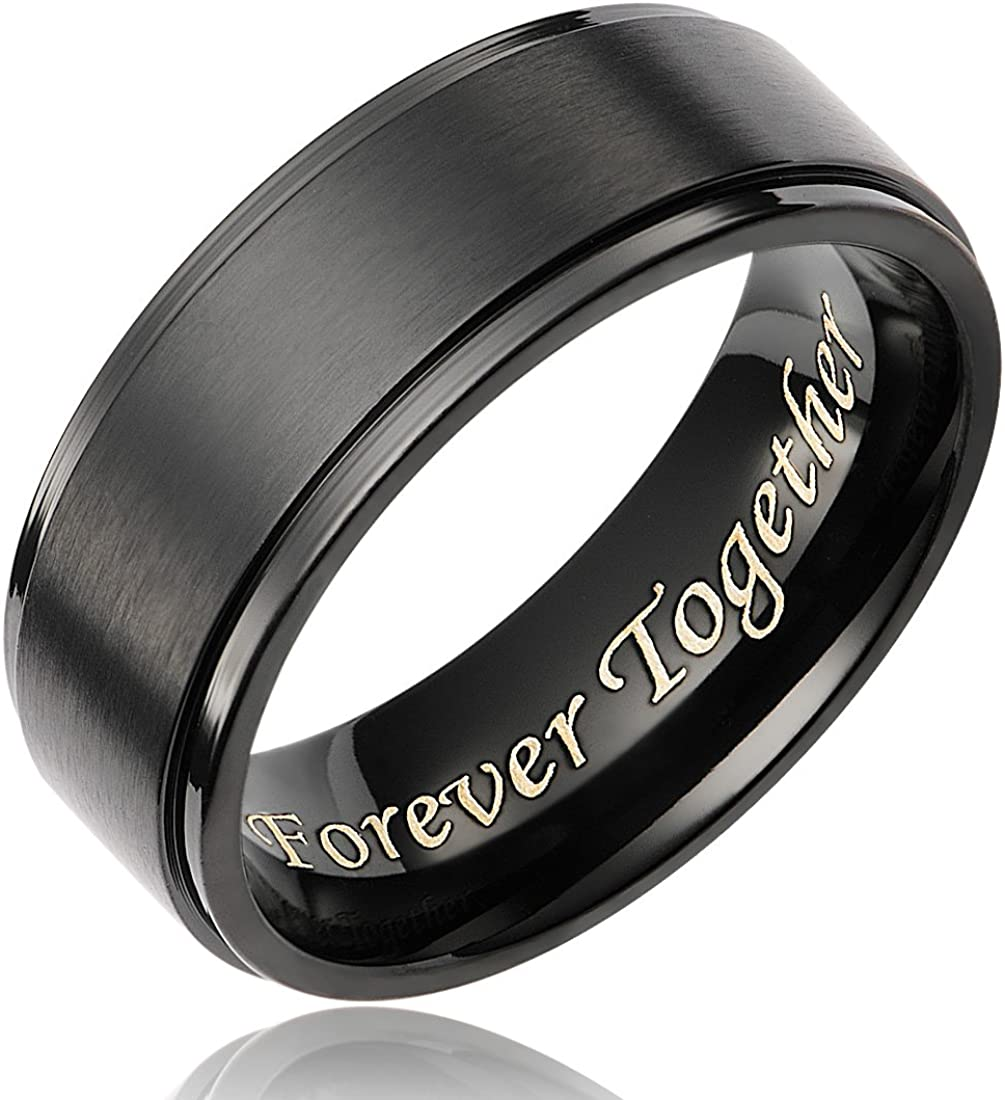 Cavalier Jewelers 8MM Men's Black Titanium Ring Wedding Band Engraved Forever Together