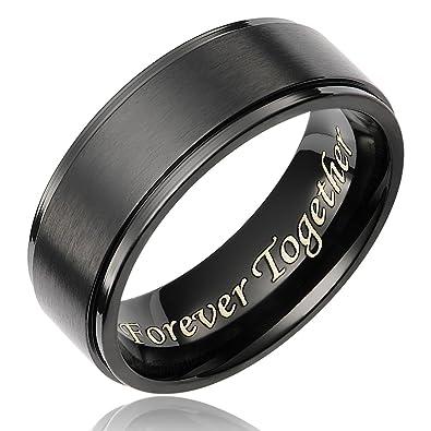 cavalier jewelers 8mm mens black titanium ring wedding band engraved forever together