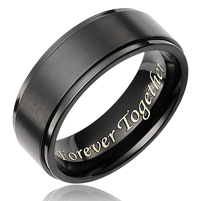 Cavalier Jewelers 8mm Men S Black Titanium Ring Wedding Band Engraved Forever Together Amazon Com