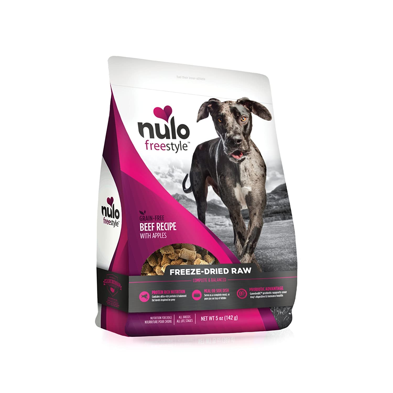 5 oz Nulo Freeze Dried Raw Dog Food for All Ages & Breeds  Natural Grain Free Formula with Ganedenbc30 Probiotics for Digestive & Immune Health Beef Recipe with Apples 5 Oz Bag