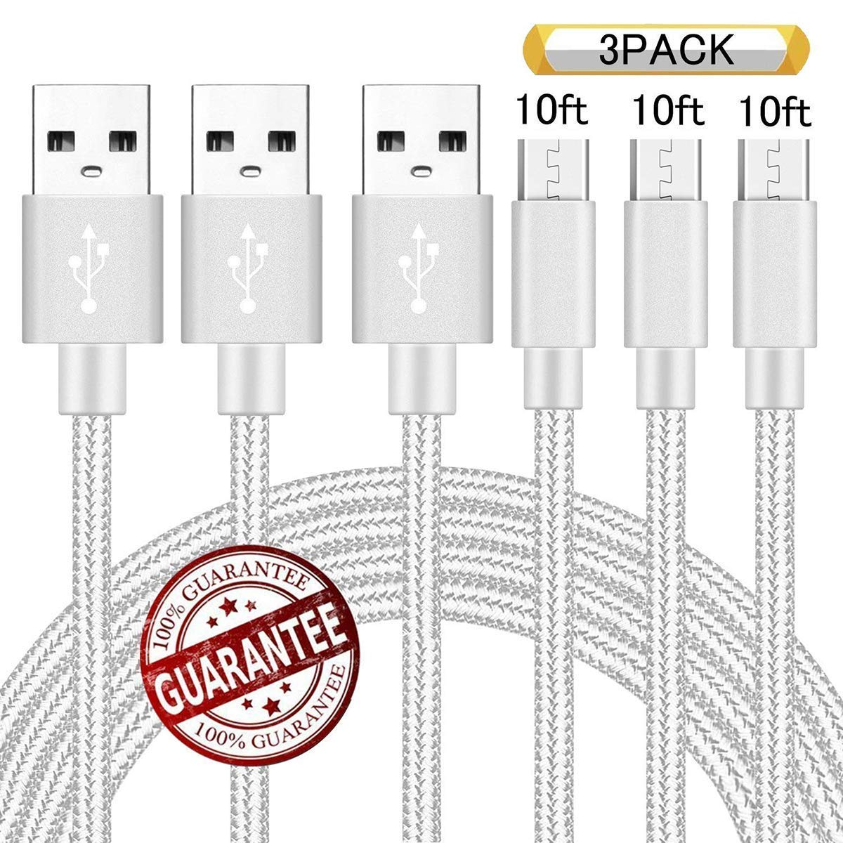 10FT Micro USB Android Charger Cable 3Pack Phone Fast Charging Cord For Samsung Galaxy S7 S6 Edge J7 J3 Note 5/4 LG Stylo 2/3 V10 K20 K30 Xbox One S/X Playstation 4 dualshock 4 Controller