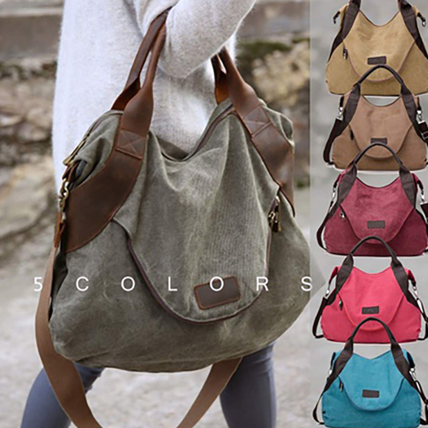 Vnezz 2019 Women Large Pocket Casual Tote Shopping Bag