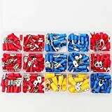 SOLOOP 280Pcs Insulated Assorted Electrical Tube Terminal Crimp Connectors Spade Kit