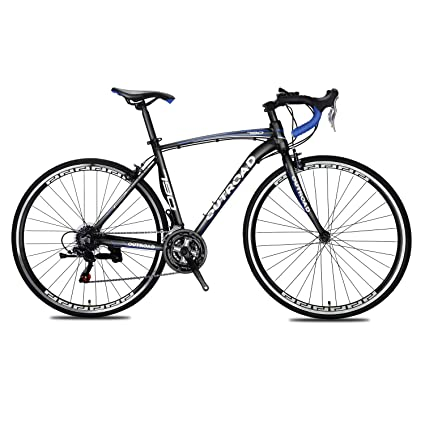 Max4out Road Bike for Men and Women, Featuring 21 Speed Drivetrain, 700C Wheel and Y Brake Suspension Fork Rear Suspension Bicycles Blue bet road bikes