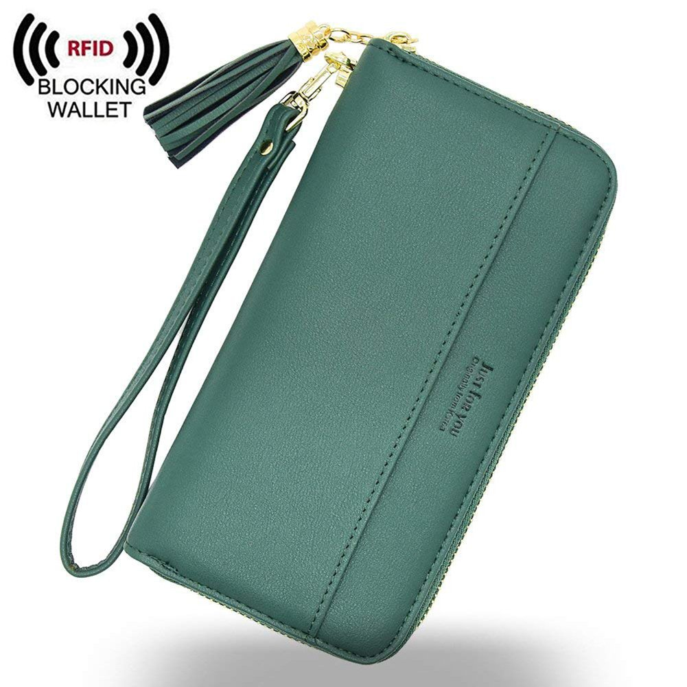 IFUNLE Womens RFID Blocking Soft PU Leather Zip Around Long Wallet Phone Case Wallet Change Card Holder Coin Zipper Pocket Travel Purse (Green)