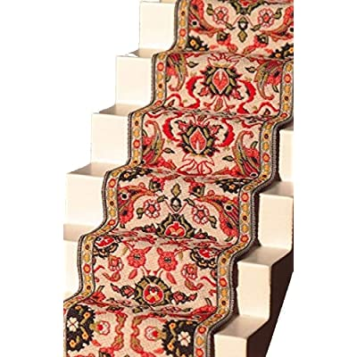 Melody Jane Dollhouse Woven Stair Carpet Runner Red Green Miniature Flooring: Toys & Games
