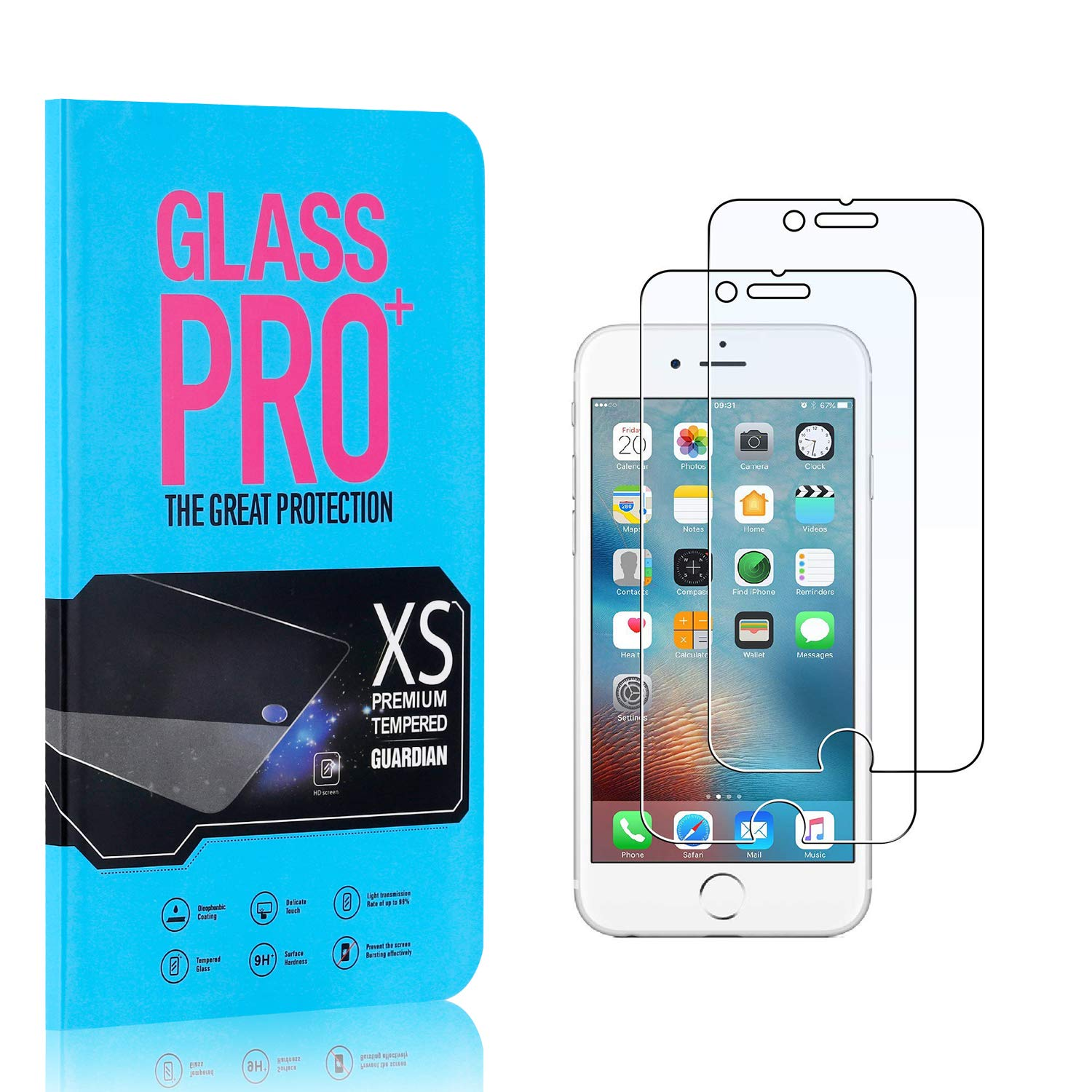 Scratch Resistant HD Screen Protector Film for iPhone 6S //iPhone 6 2 Pack Bear Village 9H Hardness Tempered Glass Screen Protector Screen Protector for iPhone SE 2020 //iPhone 7 //iPhone 8