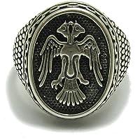 Anillo de plata de ley sólido 925 águila de doble cabeza R001709