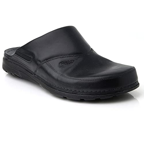 Batz Peter High Quality Leather Mens Clogs, Black, EU 41, UK 7.5