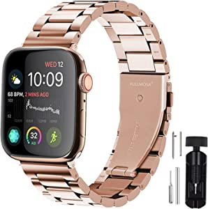Fullmosa Compatible Apple Watch Band 38mm 40mm 42mm 44mm, Stainless Steel Metal for Apple Watch Bands, 38mm 40mm Rose Gold