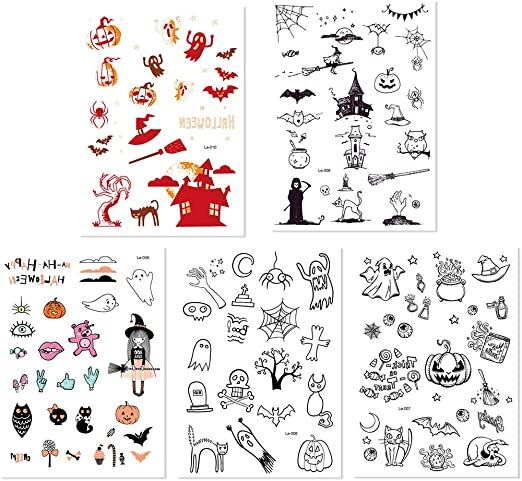 Uokoki Fantasma de Halloween 5PCS Luminoso Tatuaje Taty Etiqueta ...