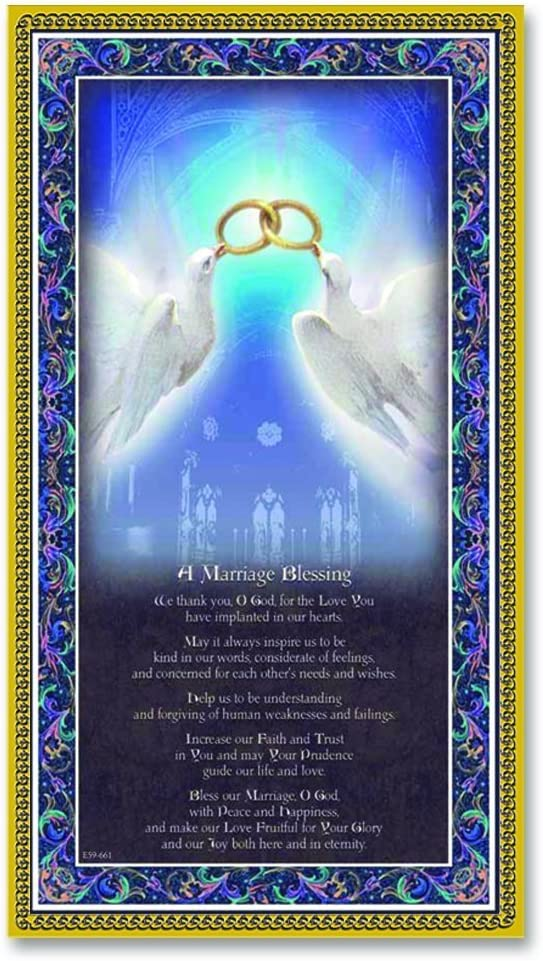 "MARRIAGE BLESSING Fine Art Italian Plaque With Prayer 5""x9"" With Gold Foil DIVINITY Series W Copyrighted Paul Herbert Blessing"