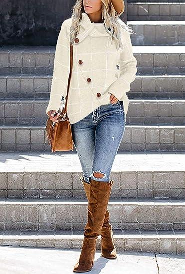 Womens Plaid Turtleneck Knit Sweater