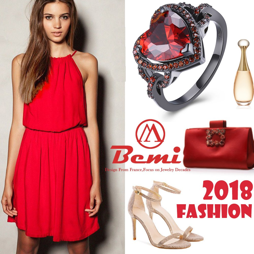 BEMI Romantic Black Gold Red Heart AAA Zircon Band Promise Ring Valentine Gift Statement Rings for Womens 8 by BEMI (Image #5)