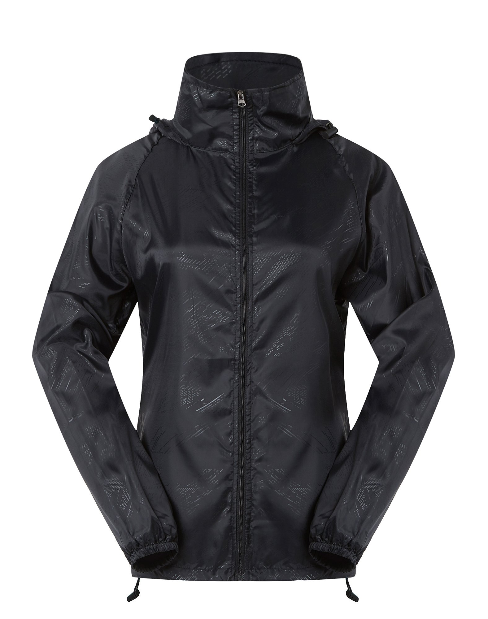 Cheering Women's Lightweight Jackets Women Waterproof Windbreaker Jacket Super Quick Dry UV Protect Running Coat Black L