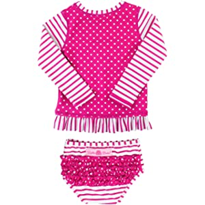 be4339dc86993 RuffleButts Little Girls Long Sleeve Rash Guard 2-Piece Swimsuit Set -  Stripes Polka with