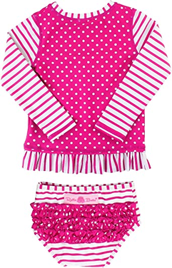 Purple, 2t Girl Two Pieces Swimsuit Long Sleeve with UPF 50 Sun Protection
