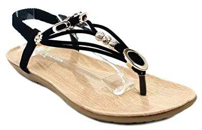 f664d0cae Forever C-83 Black Golden Chain Decor Strappy Cushioned Slingback Thong  Sandals