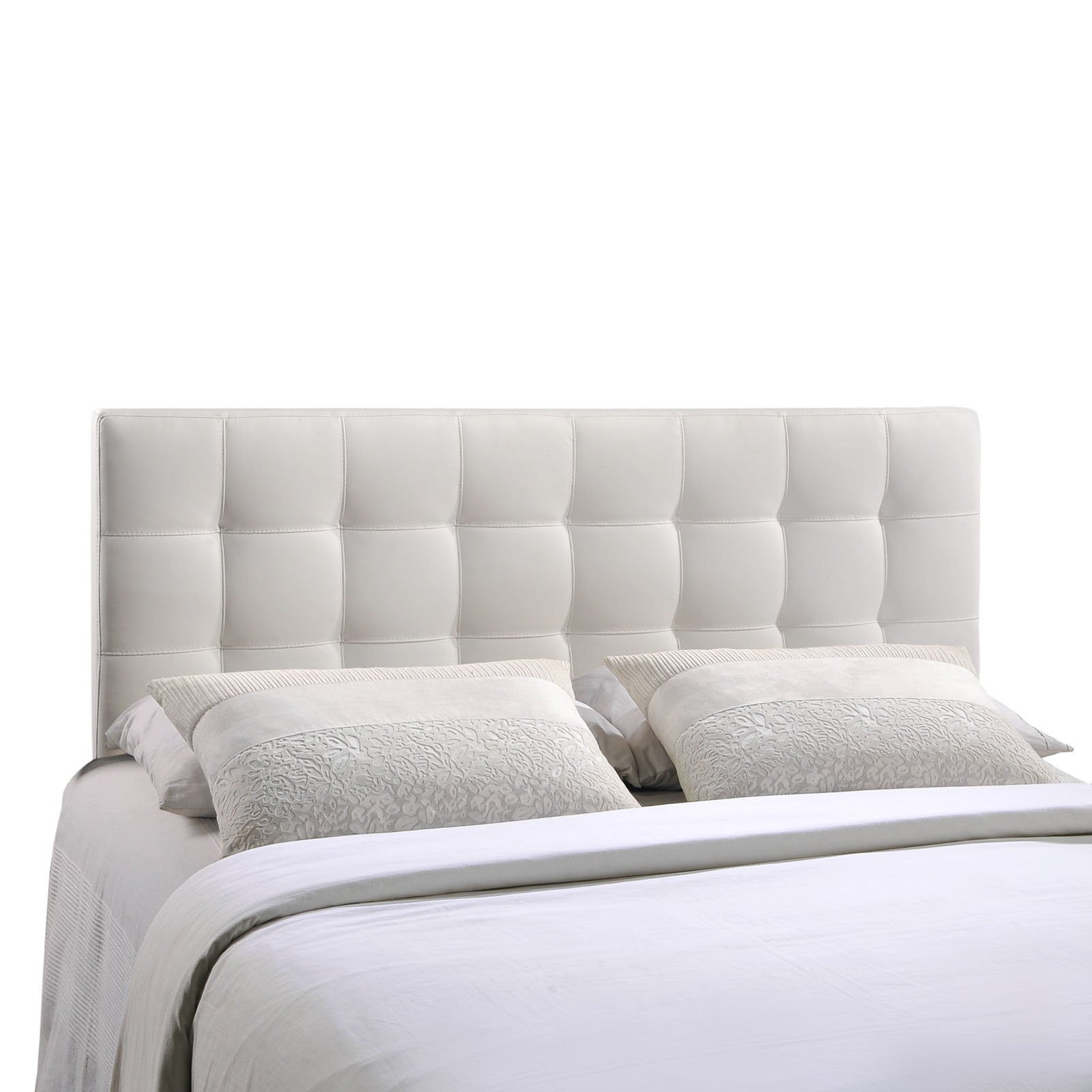 Modway Lily Tufted Faux Leather Upholstered Queen Headboard in White by Modway
