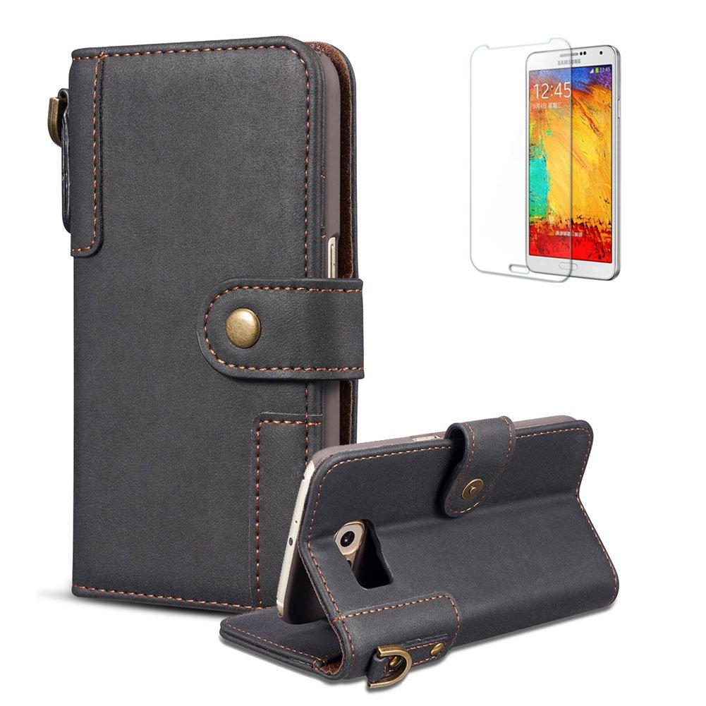 Funyye Wallet Premium Leather Case for Samsung Galaxy S9, Vintage Strap Magnetic Button Flip Cover for Samsung Galaxy S9, Coffee Stylish Multi-Functional Folder Wallet with Stand Credit Card Leather Case for Samsung Galaxy S9 + 1 x Free Screen Protector FU