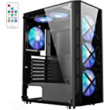 1STPLAYER Mid Tower Computer Case,Gaming PC Case with ARGB Fans,ATX Mid Tower Case with Tempered Glass Panel,Gaming Style Des