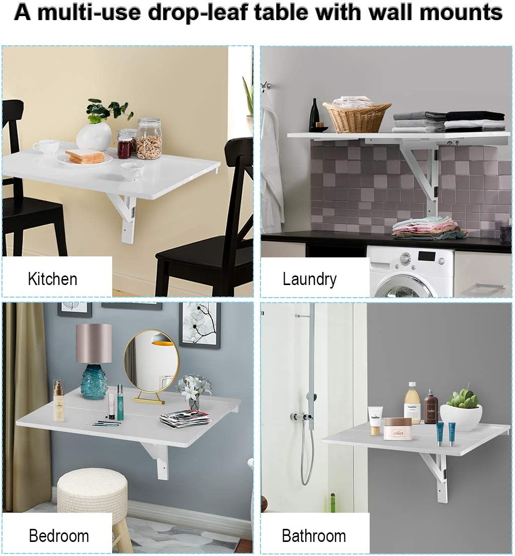 Space Saving Hanging Table for Study Black Bedroom Simple Floating Folding Laptop Desk TANGKULA Wall-Mounted Drop-Leaf Table Bathroom or Balcony