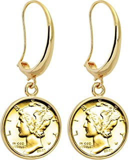 product image for Coin Earrings Mercury Dime | Goldtone Hook Style | Genuine Coin | Women's Fashion Jewelry