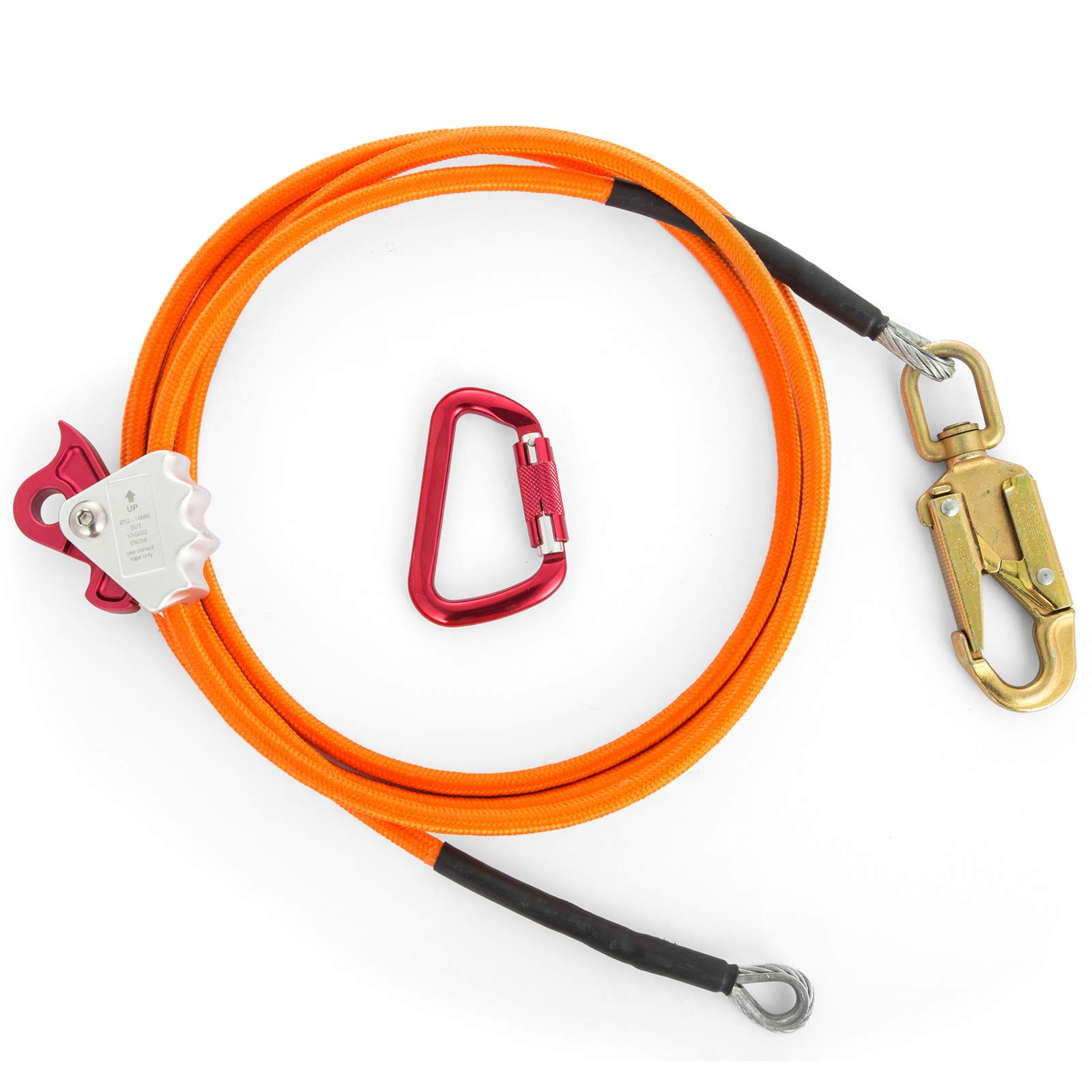 Happybuy Steel Wire Core Flip Line Kit 1/2'' X 8' Wire Core Flipline with Triple Lock Carabiner and Steel Swivel Snap Wire Core Flipline System for Arborists Climbers Tree Climbers (1/2'' X 8') by Happybuy (Image #5)