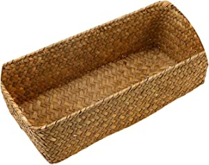 Small-Dream-Shop Handmade Wicker Baskets Rattan Cosmetic Box Decorative Case Woven Flower Pot Straw Storage Basket Plant Pot Kitchen Basket,Yellow,S
