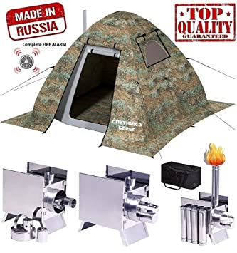 Winter Tent with Stove Pipe Vent. Hunting Fishing Outfitter Tent with Wood Stove. 4 & Amazon.com: Winter Tent with Stove Pipe Vent. Hunting Fishing ...
