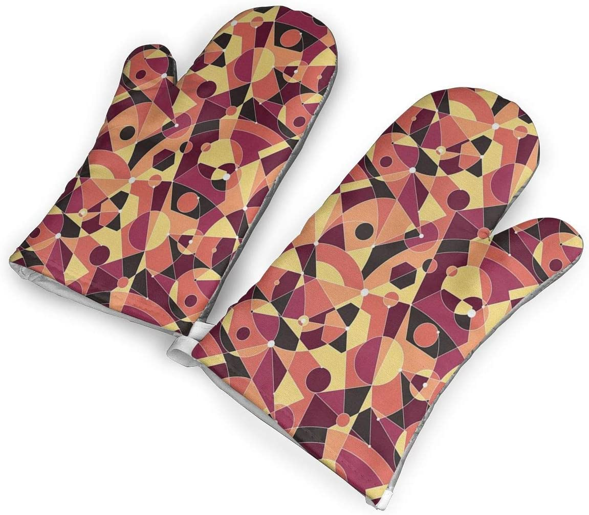 Feederm Motley Art Deco Composition Oven Mitts,Professional Heat Resistant Microwave Oven Insulation Thickening Gloves Baking Pot Mittens Soft Inner Lining Kitchen Cooking