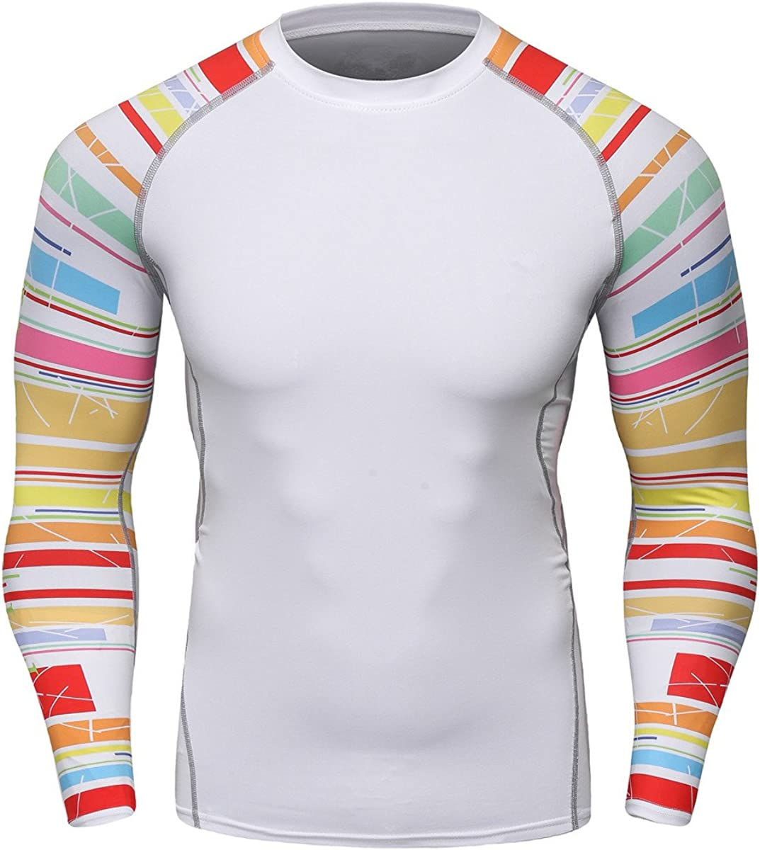 Fanii Quare Mens Soft Slim Long Sleeve Dry-Fit Compression Gym Trainning Shirt