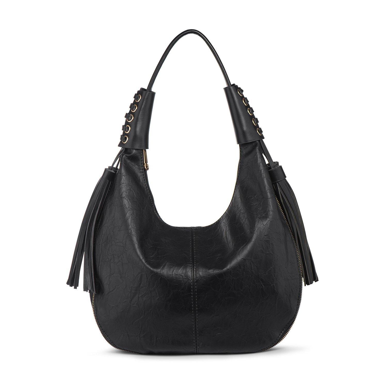 Hobo Handbag Shoulder Bag Women PU Leather Top Handle Bags Tote Purse Large Black + Katloo Nail Clipper