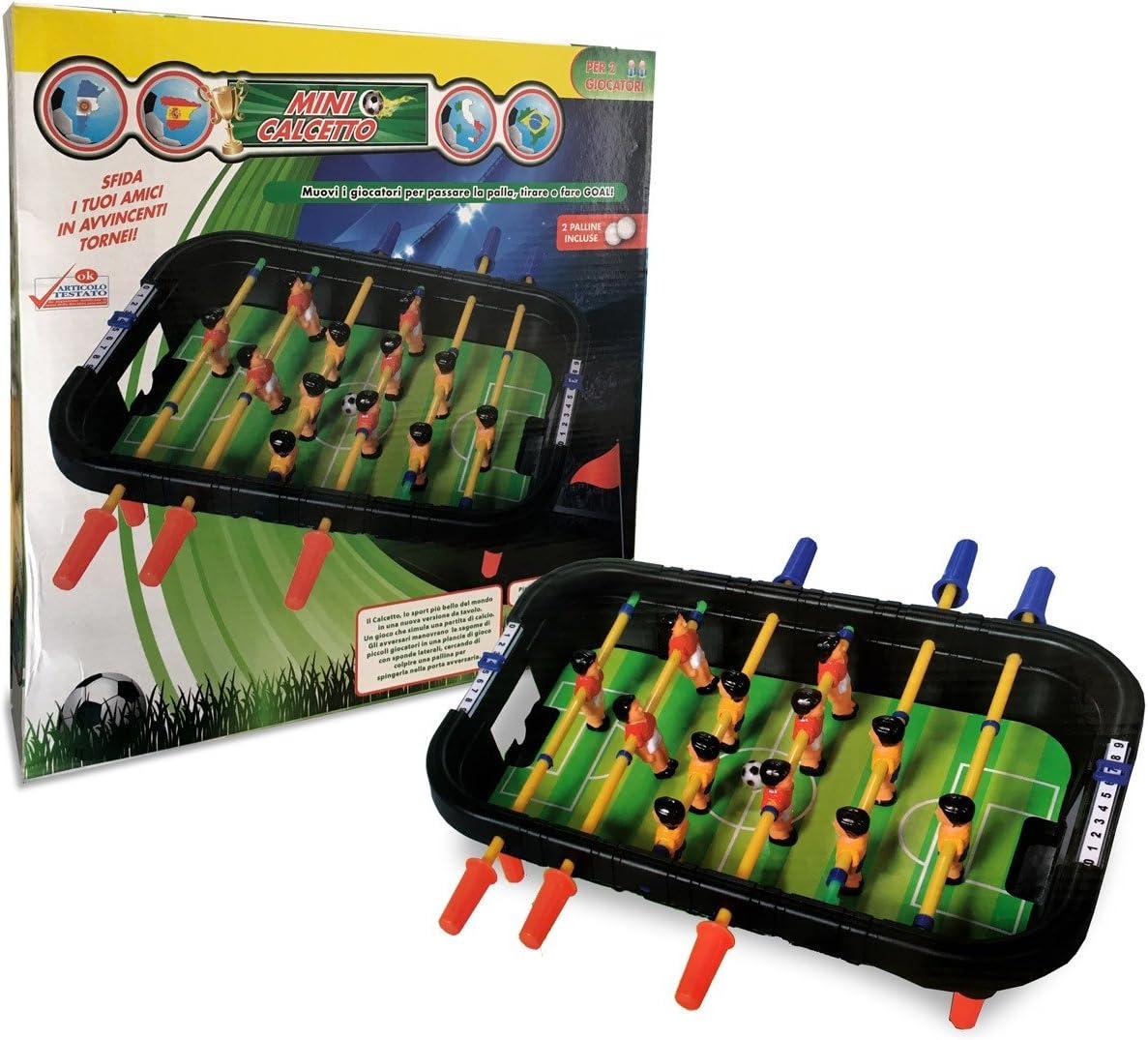 100424 Mini futbolín de mesa con 12 jugadores 6 listones y bolas ...