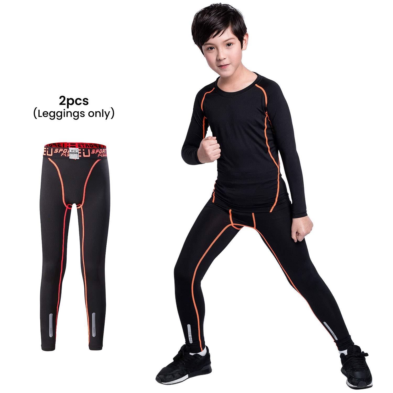 TERODACO Boys /& Girls Compression Althetics Pants Base Layer Leggings Soccer Basketball Running Tights