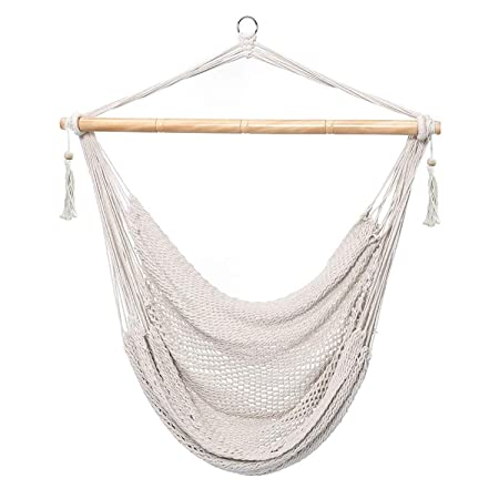 Techcell Hammock Chair, Mesh Hanging Chair, Polyester Cotton Swing Seat, 260LBS Weight Capacity White