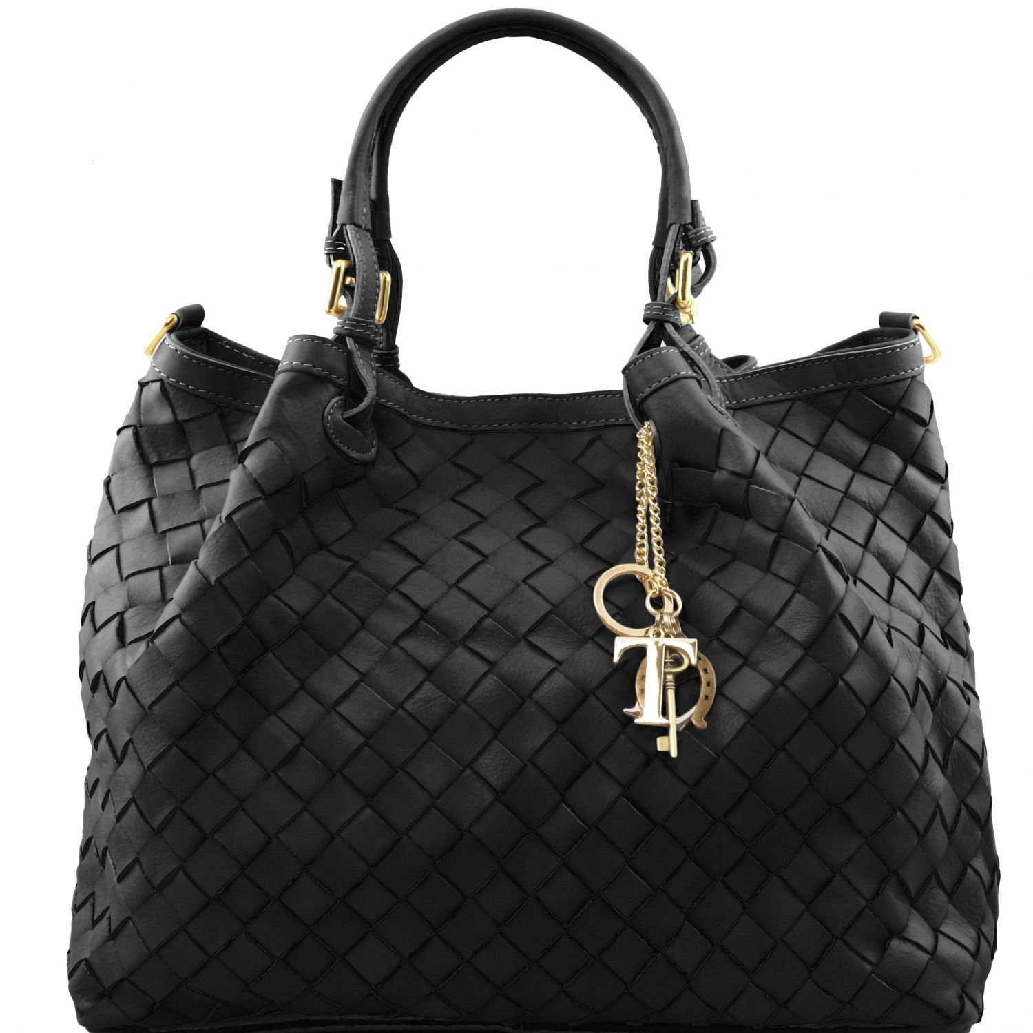 Tuscany Leather TL KeyLuck Handwoven leather tote - Large size Black