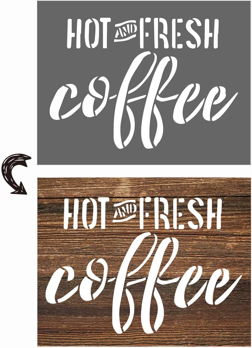 vizuzi Hot Fresh Coffee Sign Stencils - Home Decor Rustic Farmhouse Inspirational Template for Painting Spraying Wood Floors Furniture Paper Window Glass Door Wall Sign Crafts